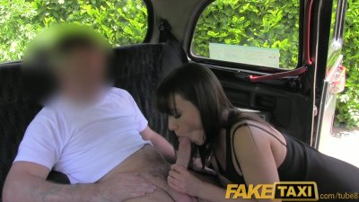 FakeTaxi Brunette stunner gets naked and fucks in a London black cab