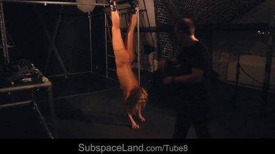 Kinky suspended bdsm fantasy for a blonde slave girl