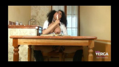 Amazing Latina Shemale Keira Verga upskirt under the table