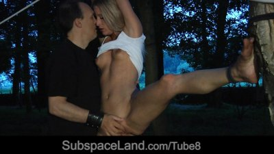 Hot blond slave hardly punished in the twilight