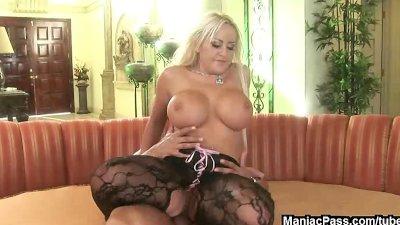 Busty blonde takes anal cumshot