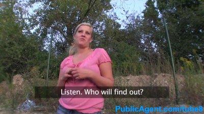 PublicAgent Big tits blonde has sex on car bonnet