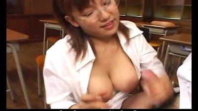Chubby Japanese girl slurps her lover's stiff cock