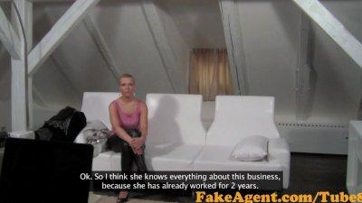 FakeAgent Blonde babe swallows