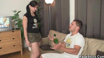 Brutal deepthroat blowjob and rough sex