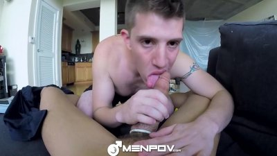 HD - MenPOV Two hot guys shoot out with their big dick guns