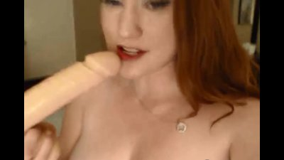 Busty Redhead Babe Rides her D