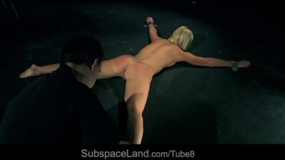 Blonde bdsm slave whipped and submitted to blowjob