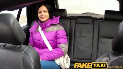 FakeTaxi Black haired hottie let's cabbie cum on her tits