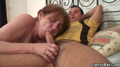Injured old grandma gets healed by young dick