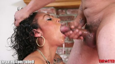 Throated Busty ebony goes balls deep and gags like crazy!