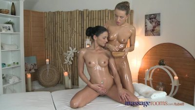Massage Rooms Young beautiful teen lesbians have intense oily G-spot fun