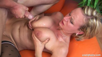 Young Alice gets big tits cumm