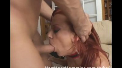 Redhead mom swallows cum from