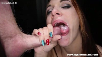 Gloryhole Secrets fit redhead swallows loads of cum 2