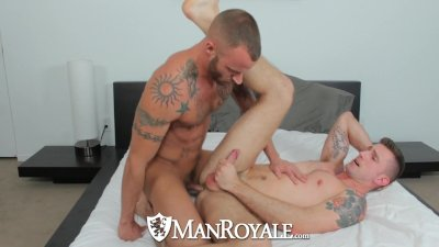HD ManRoyale - Hot tattooed guy sucks a cock hard