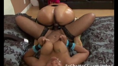Doggystyle Ebony Stockings video: Black lesbian sluts strapon fuck