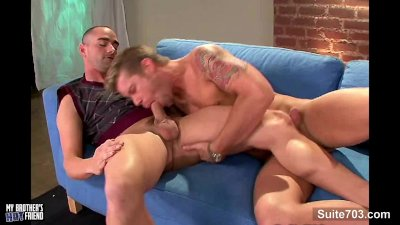 Awesome gay massaging and fucking well