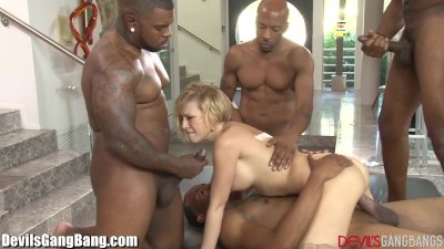 Blonde Blowjob Doggystyle video: Kagney Linn Karter Gangbanged by 4 Black Guys