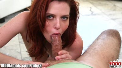 1000Facials My cock spitting on a redhead bitch's forhead!