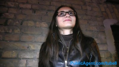 Cumshot Glasses Outdoors video: PublicAgent Russian babe gets fucked for cash in her glasses