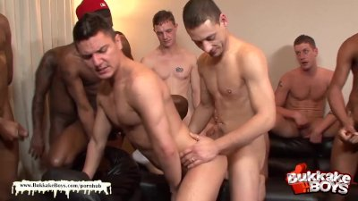 Cute guy gets his first bukkake gangbang