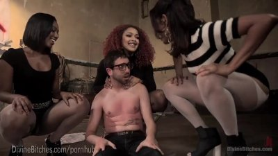 Bdsm Black Bondage video: Three Hot Femdoms, One Lucky Man