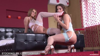 Foot lover lesbians enjoying their body in stockings