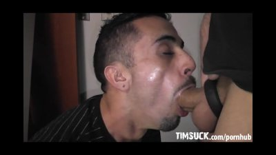 Hungry Latin Twink Gobbles White Trash Cock