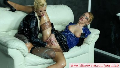 Uma and Anita Vixen at gloryhole getting slimed in hd