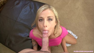 Karla Kush takes load in her first swallowing scene