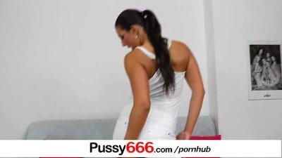 Perverted brunette Ella flexing her cunt