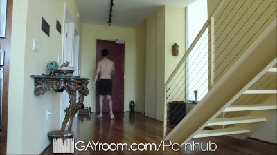 GayRoom Hairy muscle guy fucked after oil massage