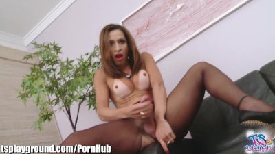 Big Assed Tranny Jerks Big Cock