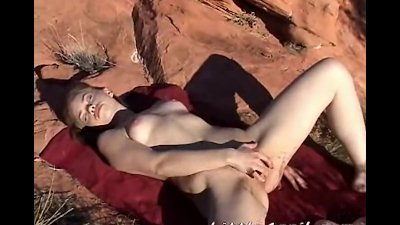 Little April gets her nut in the nature