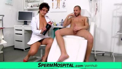Big natural boobs milf doctor Greta sexy uniform and wank-job