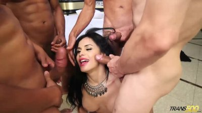 TS Star Bruna Butterfly First Gangbang! Part 1