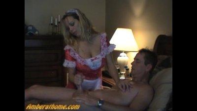Horny maid wacks off her master