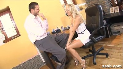 Sexy blonde office babe gets h