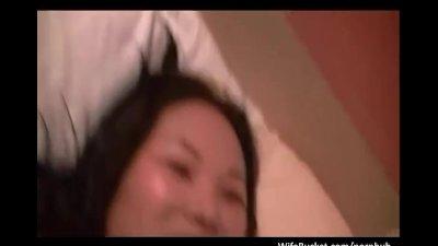 Shy asian expat milf getting h
