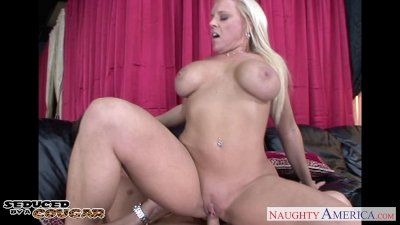 Pierced blonde cougar Alexis Golden taking a big young cock