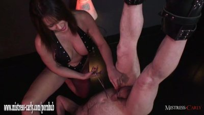 Busty Mistress teases slaves cock with toys then handjob and spunk drinking