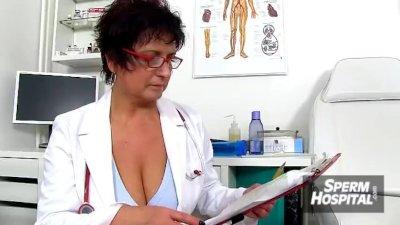 Fatty boy ejaculates a lot of sperm on hot legs milf nurse Maya