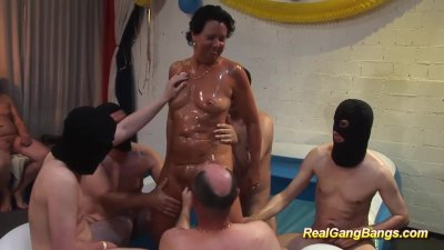 oiled stepmom in her first gan