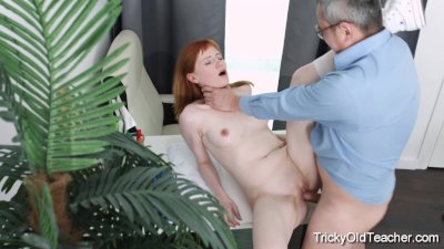 Tricky Old Teacher - Old teacher tricks Sweet Red into sex for grades