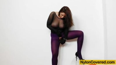 Huge titties cutie in nylon ma