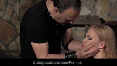 Blonde slave begging for cock